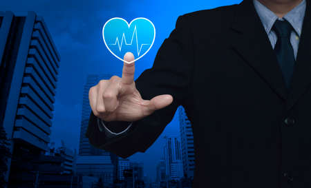 Heart beat pulse flat icon over modern office city tower, Business medical health care service concept