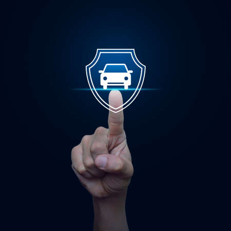 Hand pressing car with shield flat icon over blue background, Business automobile insurance concept