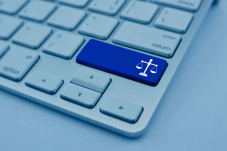 Law flat icon on modern computer keyboard button, blue tone, Business legal online service concept