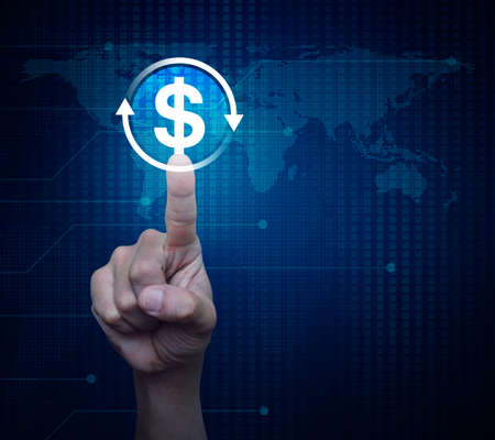 Hand pressing money transfer flat icon over digital world map technology style, Business currency exchange service concept, Elements of this image furnished by NASA