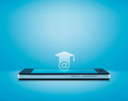 e-learning flat icon on modern smart mobile phone screen over gradient light blue background, Study online concept