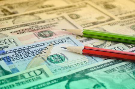 Pencil on dollar bank note money, Business planning concept Stockfoto