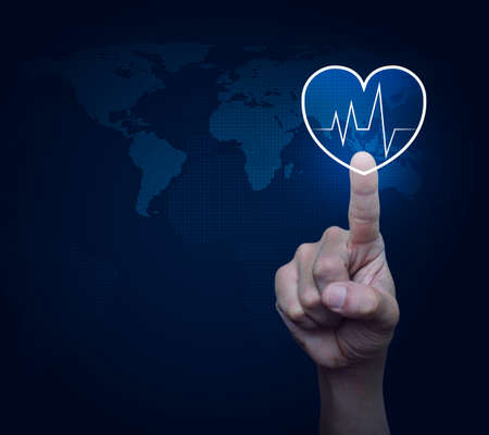Heart beat pulse flat icon over digital world map technology style, Business medical health care service concept