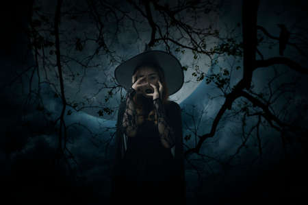 Scary halloween witch standing over dead tree, crow, birds, full moon and spooky cloudy sky, Halloween mystery concept Stockfoto