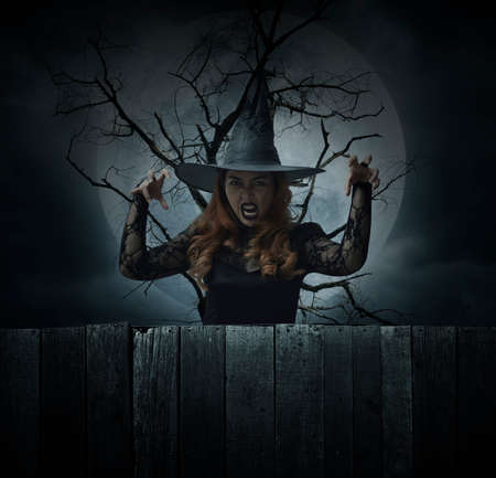 Scary halloween witch standing over dead tree, full moon and spooky cloudy sky, Halloween mystery concept Stockfoto