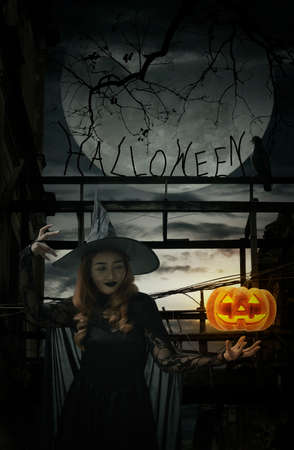 Halloween witch with pumpkin monster head standing over damaged old wooden bridge, bird, dead tree, full moon with spooky cloudy sky, Halloween mystery concept Stockfoto
