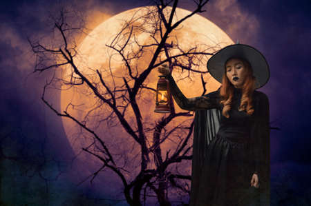 Halloween witch holding ancient lamp standing over dead tree, full moon and spooky cloudy sky, Halloween mystery concept