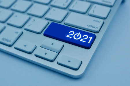 2021 start up business flat icon on modern computer keyboard button, Happy new year 2021 concept