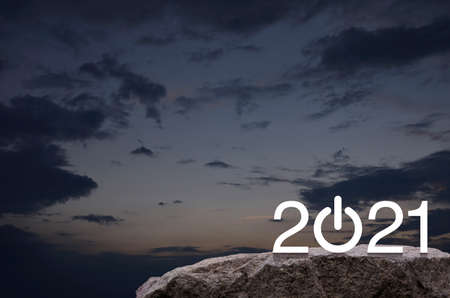 2021 start up business flat icon on rock mountain over sunset sky, Happy new year cover concept