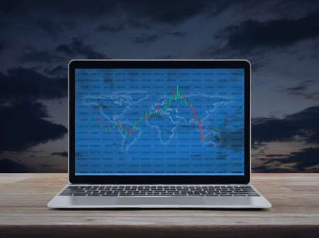 Trading graph of stock market with world map and graph on modern laptop computer on wooden table over sunset sky, Business investment online concept