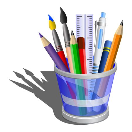 Stylized icon of blue pencil holder with acessories. Isometric view. photo