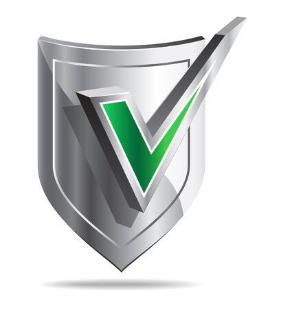 Stylized icon of shield with green tick on white background. Stock Photo - 8390753