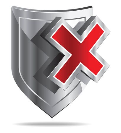 shiled: Shiled and red cross on white background - stylized icon. Stock Photo
