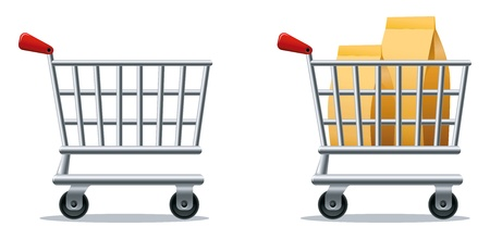 full shopping cart: Stylized icons of empty and full shopping cart.