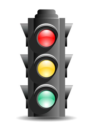 dont walk: Stylized icon of Traffic light on white background.