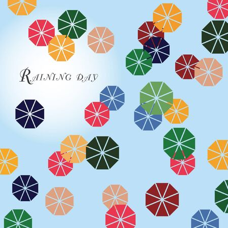 raining: Raining day background design concept top view umbrellas vector illustration colorful