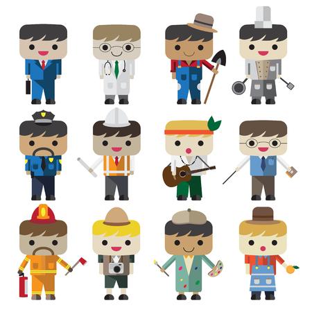 Cartoon vector flat people different characters, businessman, doctor, farmer, chef, police man , engineer, musician, teacher, fireman, photographer, artist, merchant