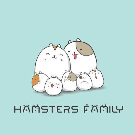 hamsters: Hamsters family,vector,cartoon charactor ,illustration
