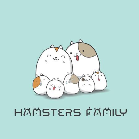 charactor: Hamsters family,vector,cartoon charactor ,illustration