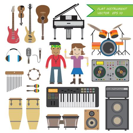 head phone: Flat instrument,cartoon,male,female,character,Eps 10 vector,illustration