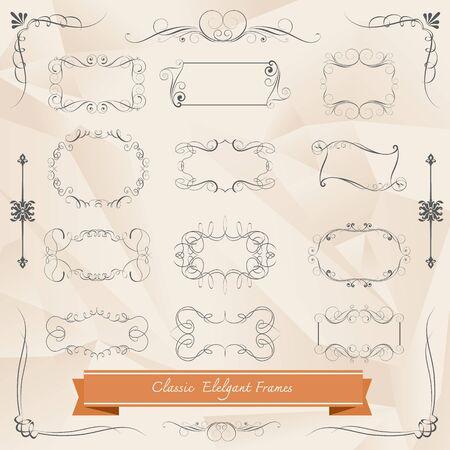 vintage scrolls: Set of vintage frames and scroll elements