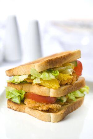 Sandwich with chicken with bright background