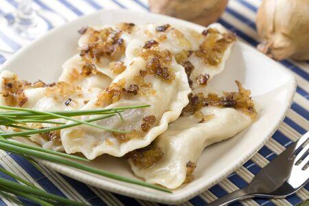 Traditional dumplings, pierogi Stock Photo