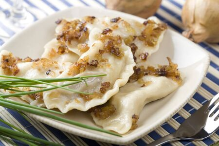 Traditional dumplings, pierogi Stock Photo