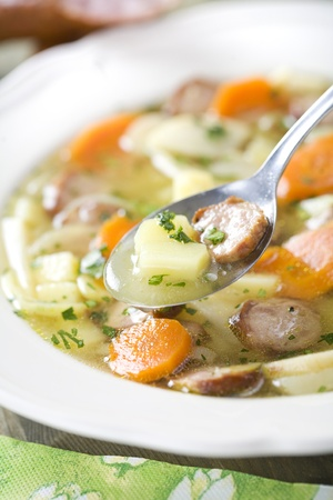 Finnish soup with sausage Stock Photo
