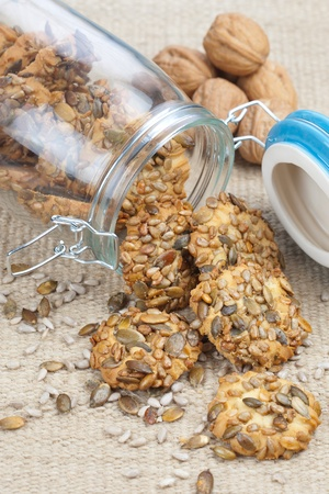 Crispy cookies with pumpkin and sunflower seed
