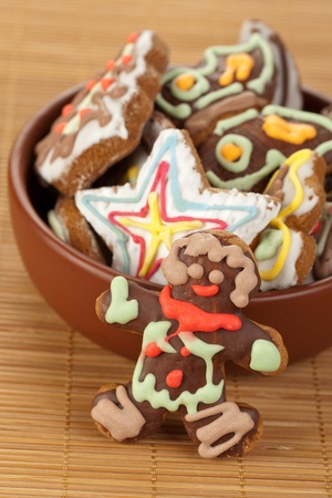Gingerbread in a brown bowl photo