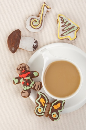 coffee time: Gingerbread and coffee Stock Photo