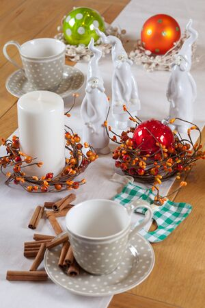 christmas table set with cup and balls Stock Photo - 11553240