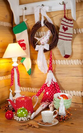 christmas table set with fabric Santa Claus photo