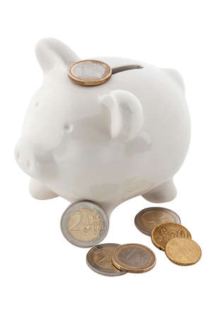 White piggy banks with euro coins, isolated Stock Photo - 12983879