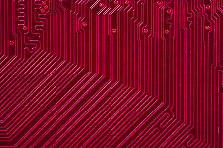 Red electronic circuit board Stock Photo
