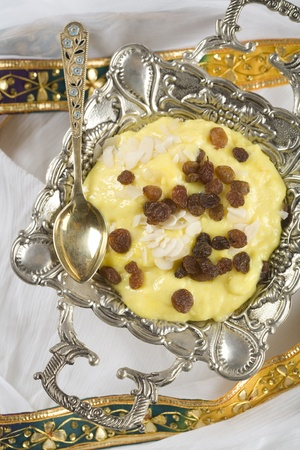 Indian food, Badam Phirni, almond pudding. Stock Photo