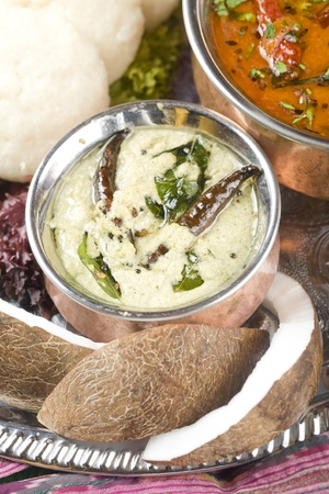 Coconut dip, lentil dish. Indian food Stock Photo