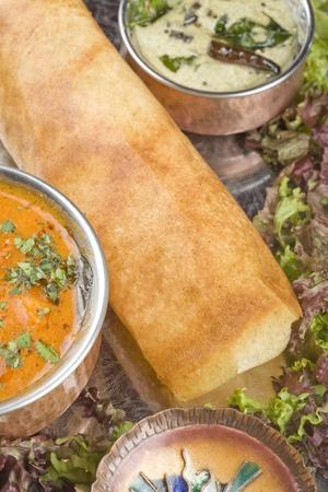 masala: Dosa con los ingredientes, plato indio del sur
