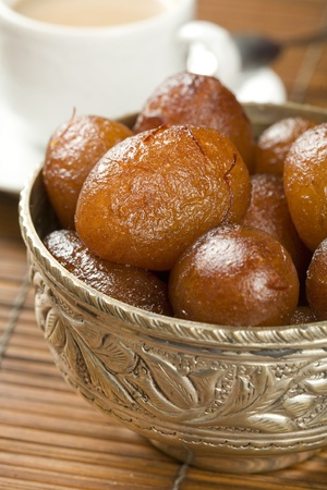 syrupy: indian special sweet Gulab Jamun Stock Photo