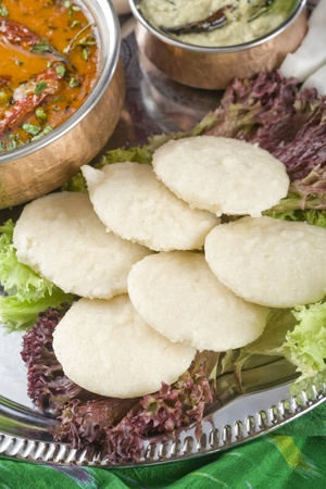 Indian pancakes from rice and lentils, Idli Stock Photo