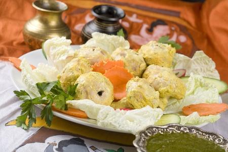 malai: Indian food, Malai Mushroom Tikka, mushrooms in marinade.
