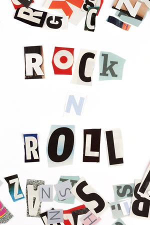 roll out: Rock n Roll inscription made with cut out letters