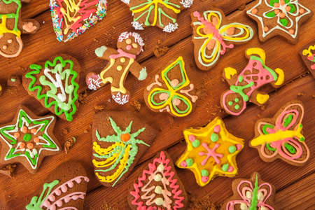 gingerbread, Christmas cookies, top view, brown background photo
