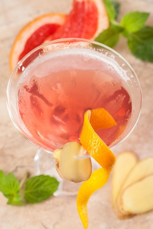 Red drink with ginger and cranberries Stock Photo - 16785669