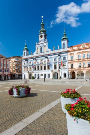 budejovice: Ceske Budejovice, Czech Republic - August 12, 2012: Renesance Town Hall on the main square build in XV century