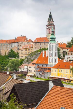 Cesky Krumlov, Czech Republic - August 11, 2012: Panorama of Cesky Krumlov, World Heritage Site by UNESCO. Stock Photo - 17378224