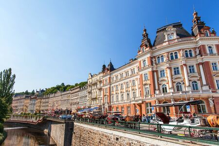 carlsbad: KARLOVE VARY, CZECH REPUBLIC - AUGUST 13, 2012: Karlove Vary (Carlsbad) town is famous for its hot springs and international film festival. Editorial