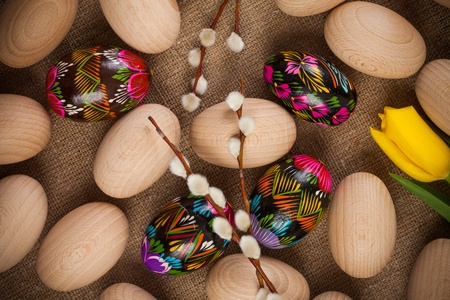 catkins: Colorful easter eggs and catkins