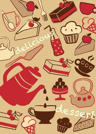 Set cakes and sweets, vector illustration Vector